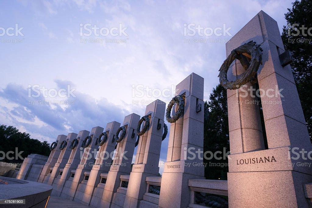 National World War II Memorial in Washington, DC at night stock photo
