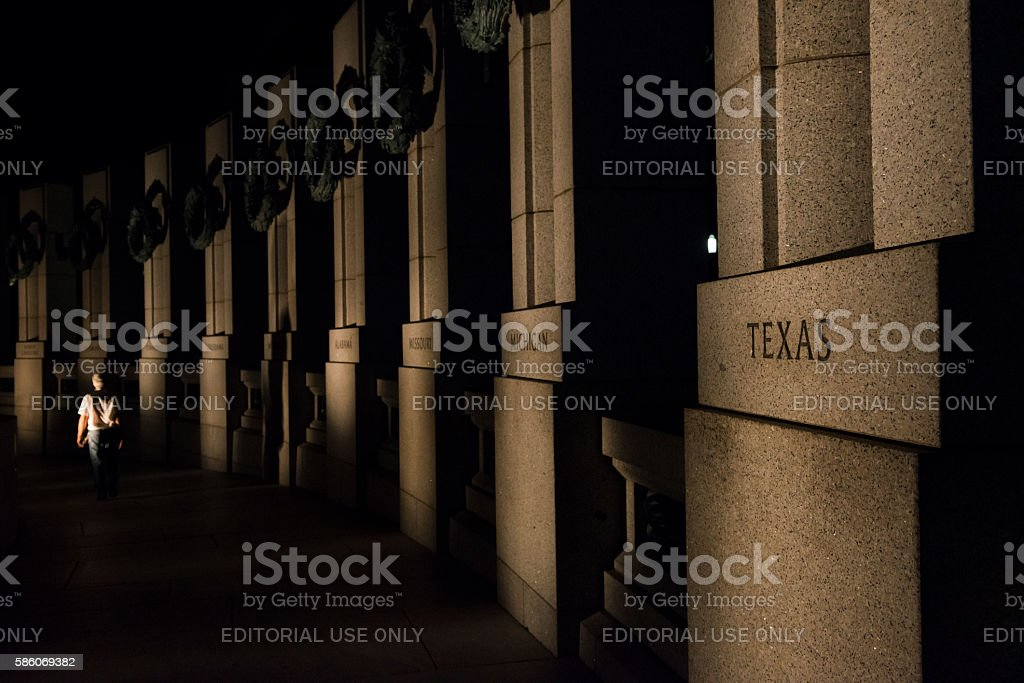 National World War Two Memorial at night in Washington DC stock photo