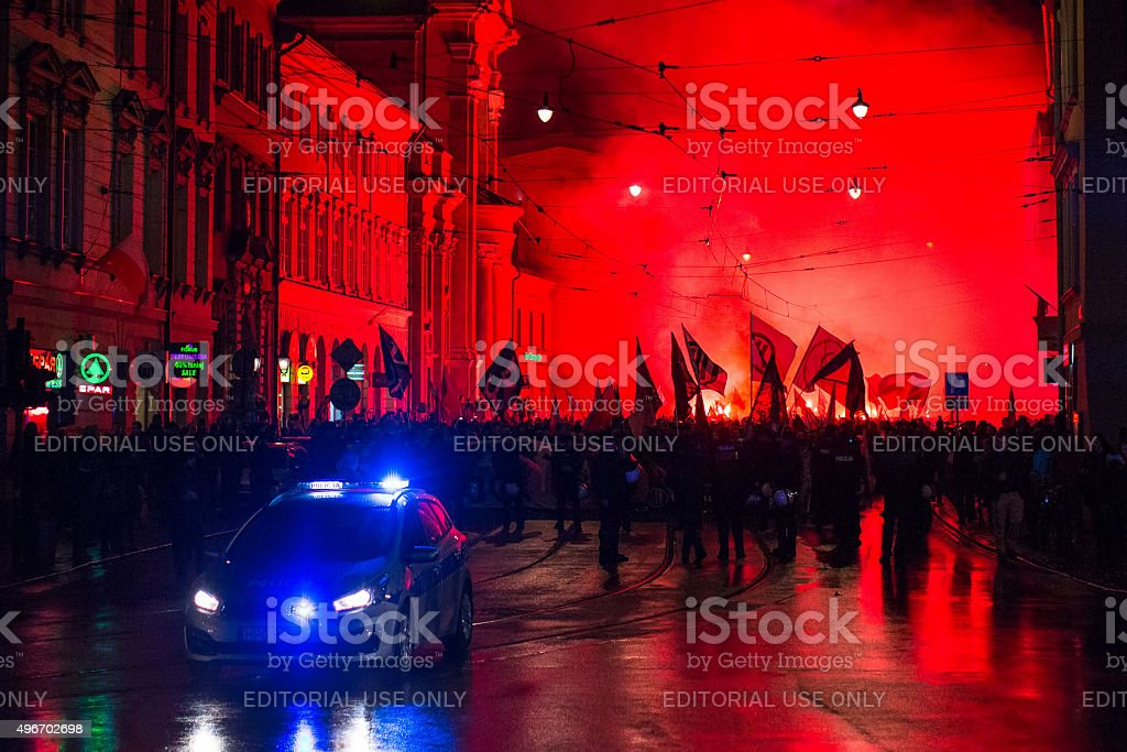 Nationalists protest in center of Krakow. stock photo