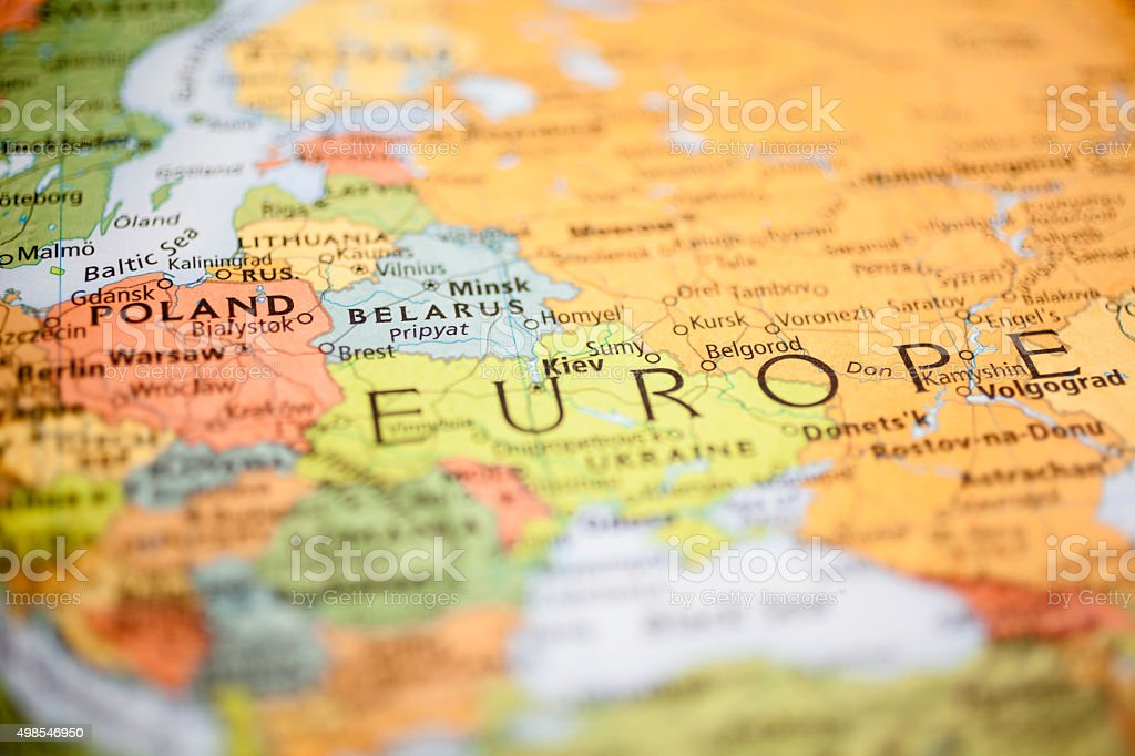 Nations:  Map of Eastern European countries. Belarus, Poland. stock photo
