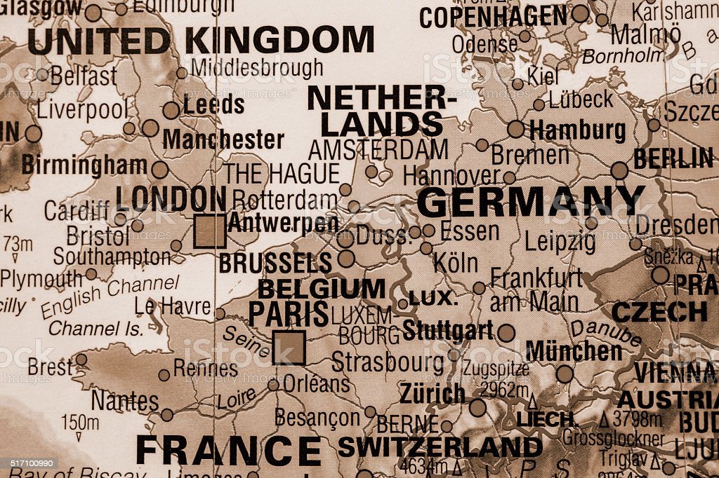 Nations:  Map of European countries. Focus on Belgium, France, Germany. stock photo