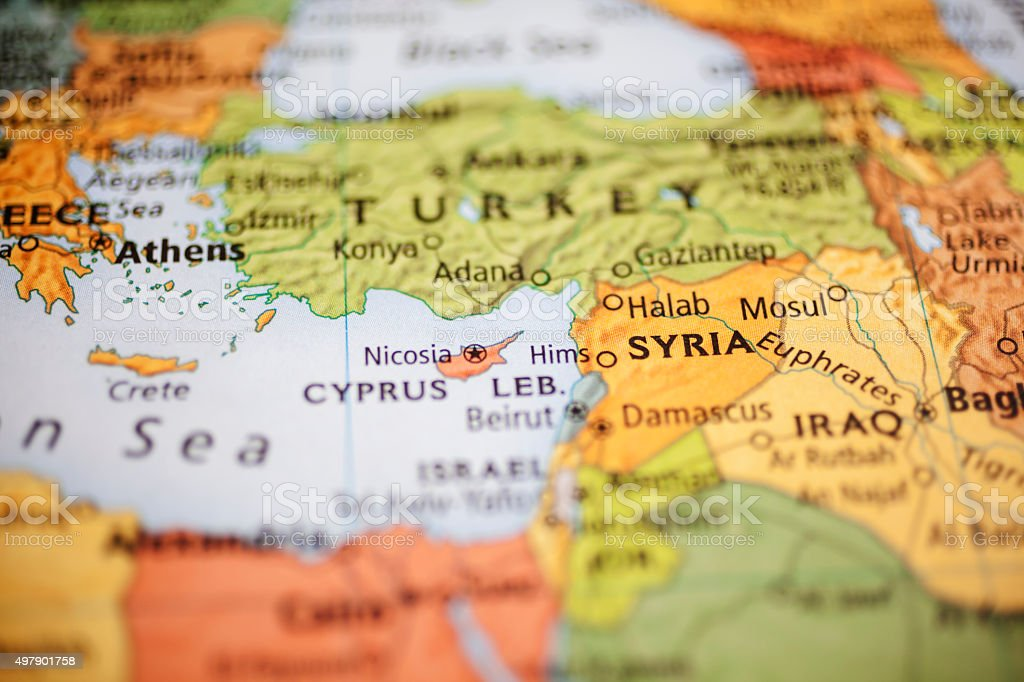 Nations:  Map of Middle Eastern countries. Focus on Syria. stock photo