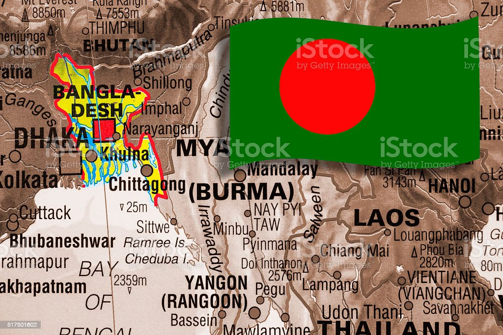 Nations:  Map of South Asian countries. Focus on Bangladesh.  Flag. stock photo