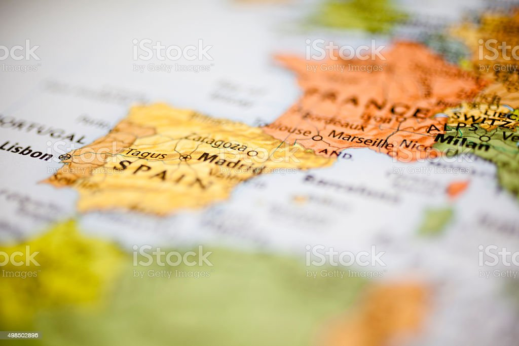 Nations:  Map of Western European countries. Focus on France, Spain. stock photo