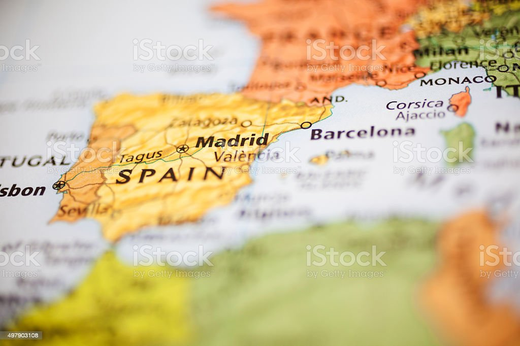 Nations:  Map of Western European countries. Focus on Madrid, Spain. stock photo