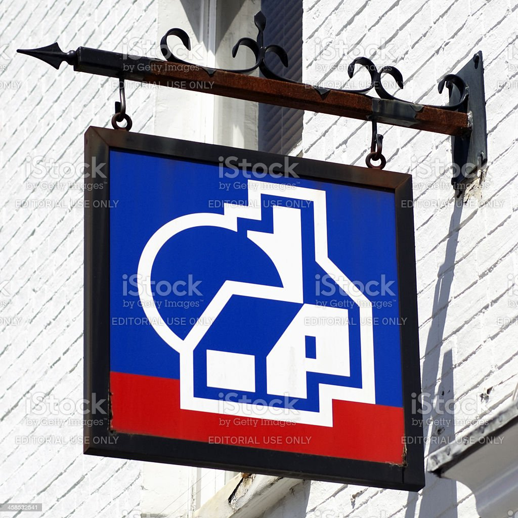 Nationwide Building Society hanging sign stock photo