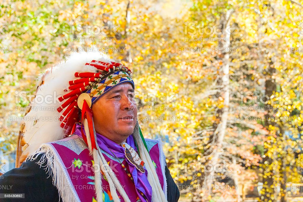 Native American Cherokee in Smoky Mountains at Fall V stock photo