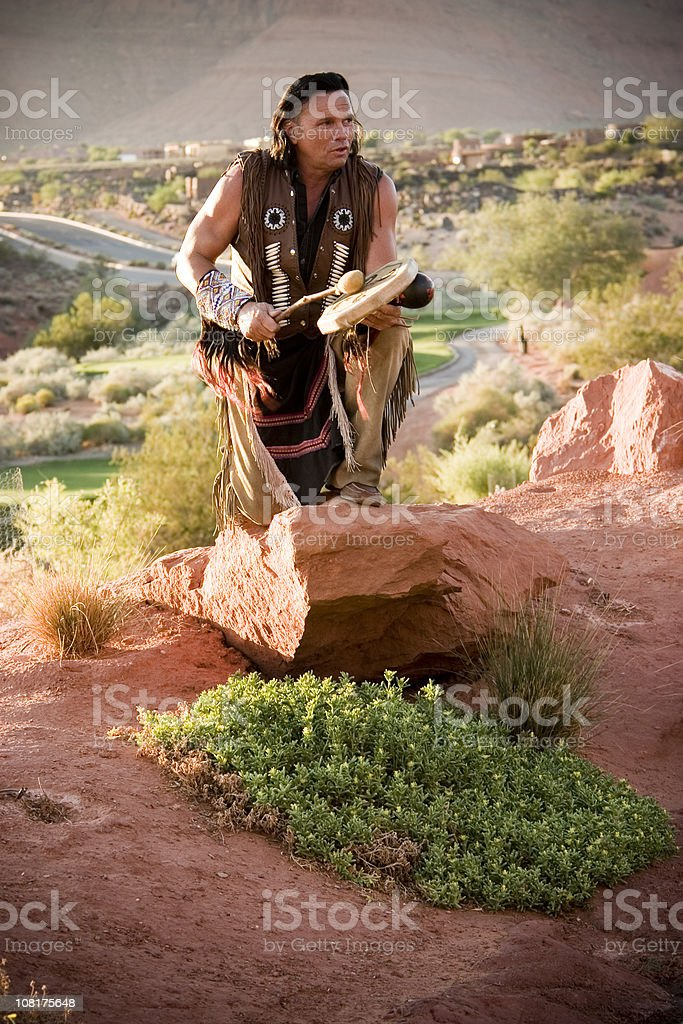 Native American Chief Performing Blessing stock photo