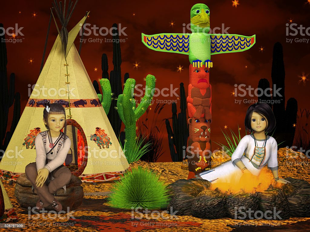 native american children, teepee at night stock photo