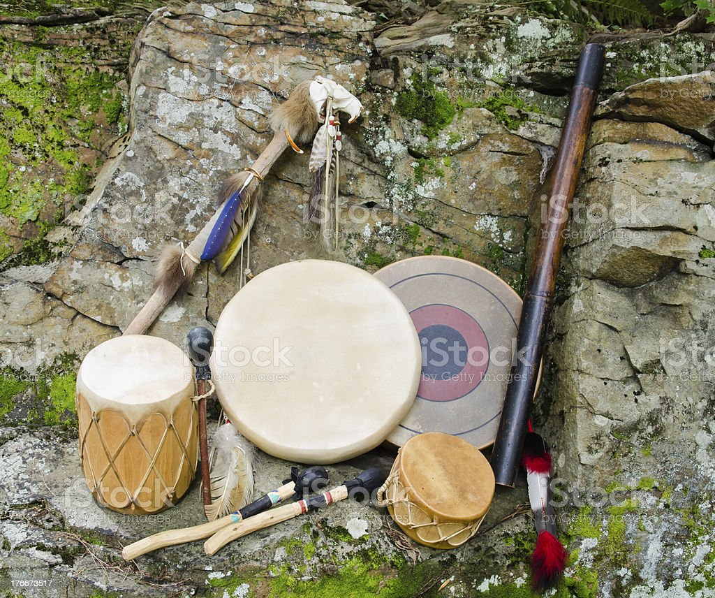 Native American Drums with Rain Stick and Spirit Chaser. stock photo