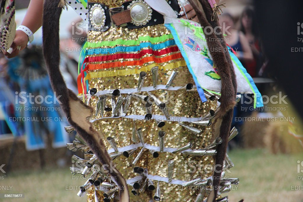 Native American Female Skirt with Bells Dancing at pow-wow stock photo