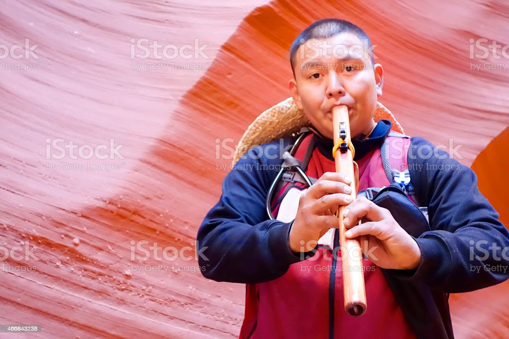 Native American Flute Player Antelope Canyon Page Arizona stock photo