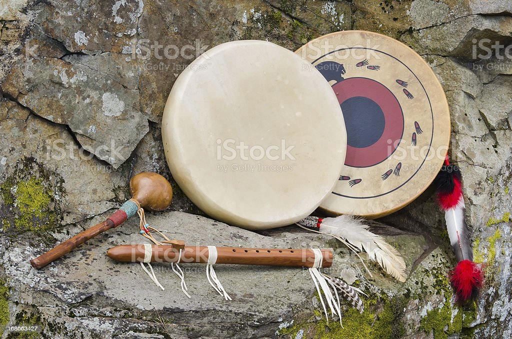 Native American Frame Drums, Flute and Shaker. stock photo