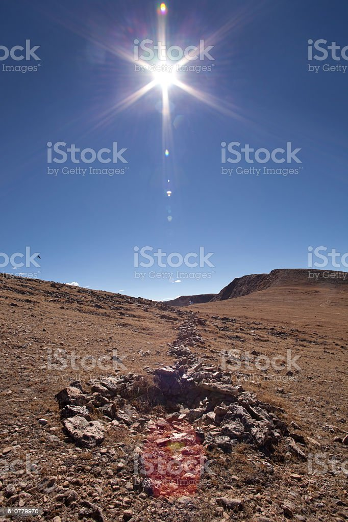 Native American game-drive blind wall James Peak Wilderness Colorado Mountains stock photo