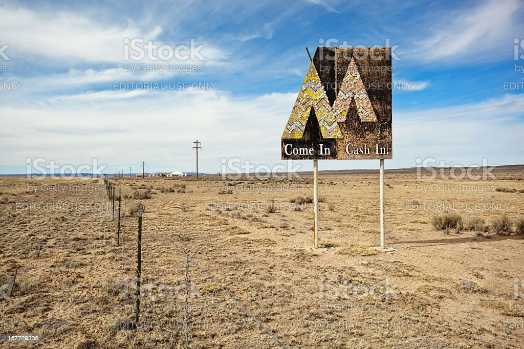 native american gaming sign stock photo