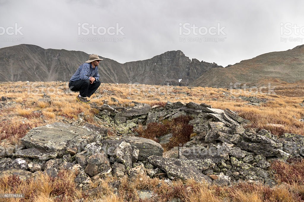 Native American hunting blind Indian Peaks Wilderness Rocky Mountains Colorado stock photo