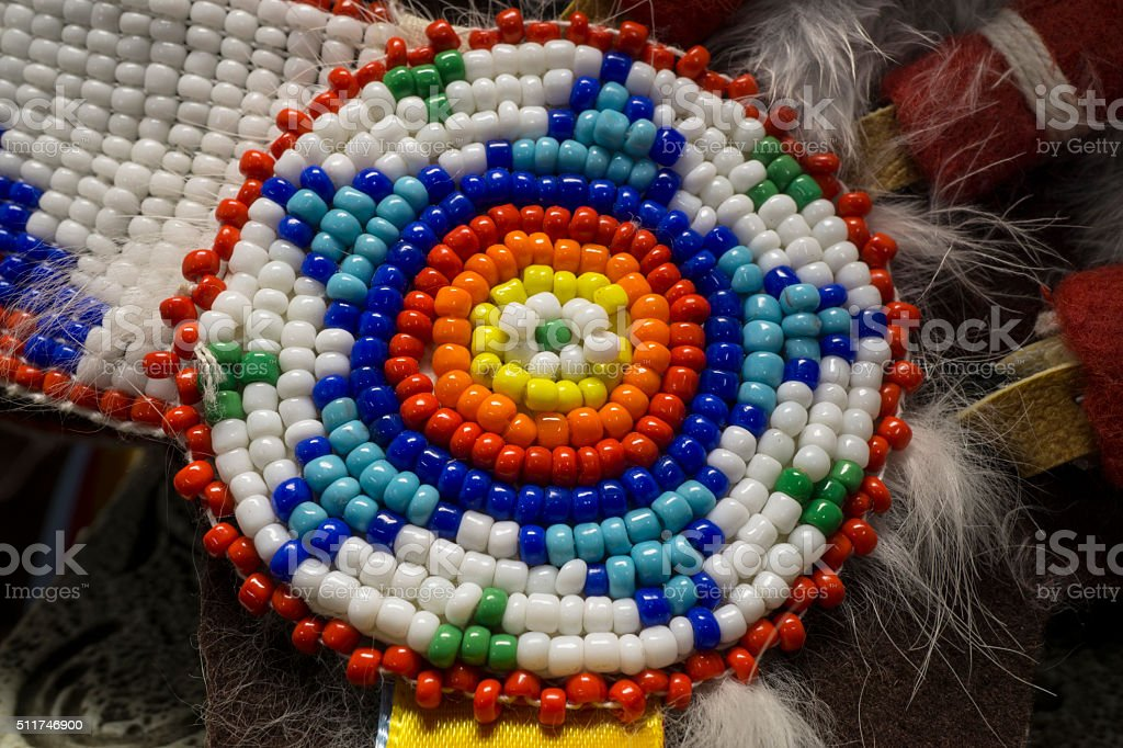 Native American Indian Beads with Circular Star Pattern stock photo