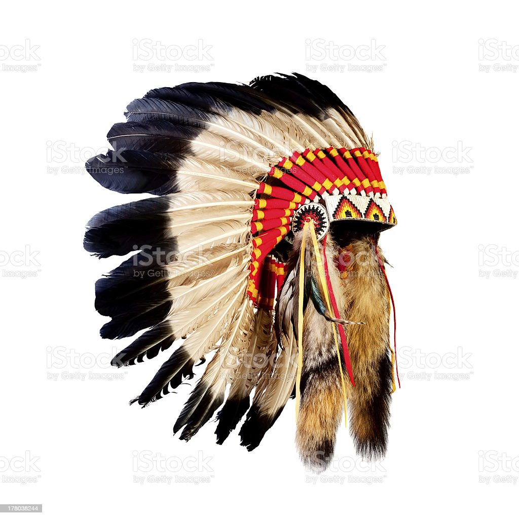 Native American Indian chief headdress with red pattern stock photo