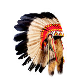 Native American Indian chief headdress with red pattern