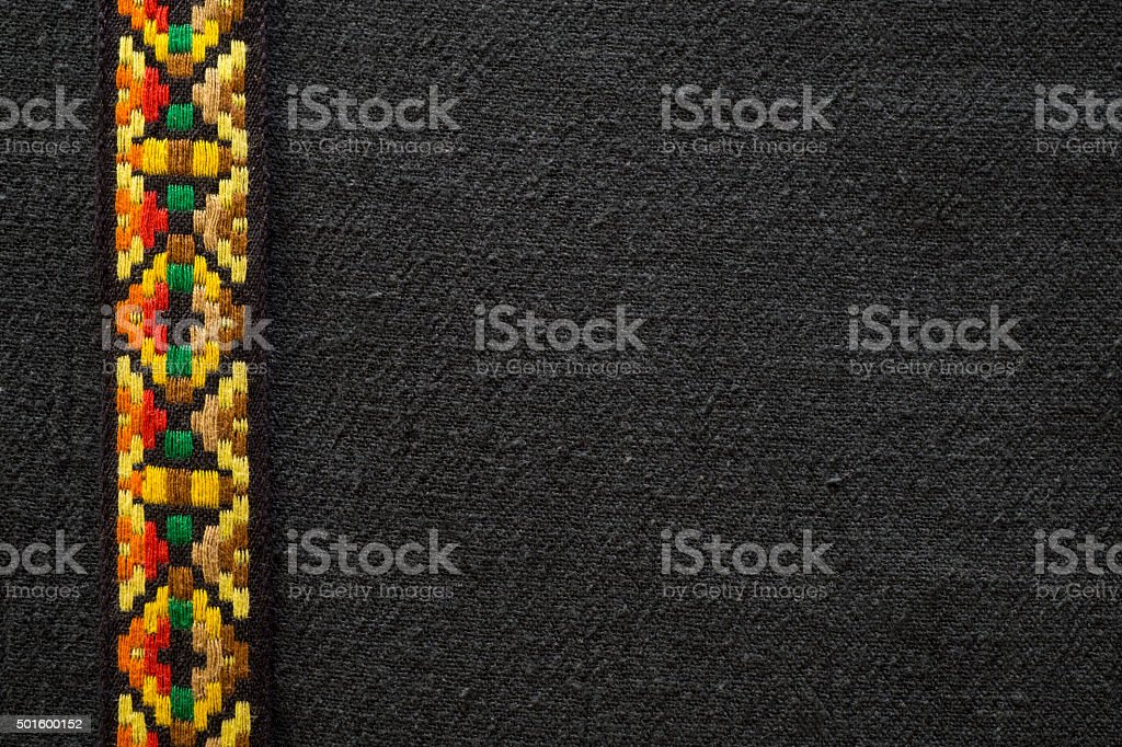 Native American Indian Fabric with a Black Background stock photo