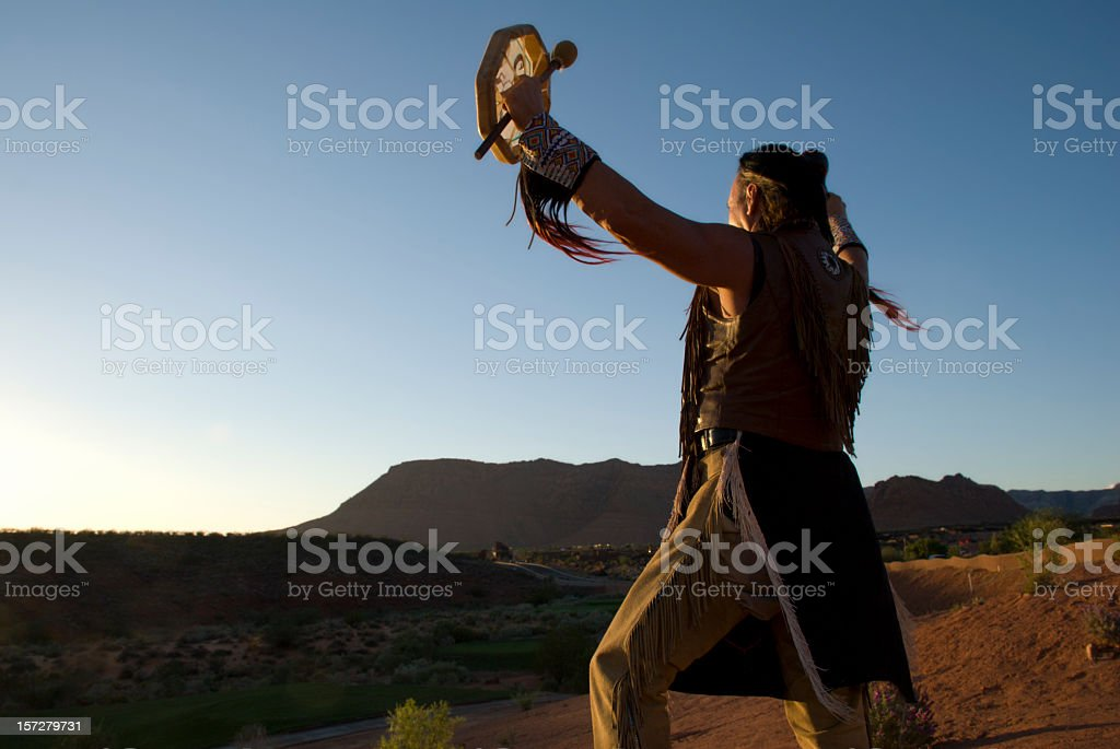 Native American Indian giving Sunset Blessing stock photo