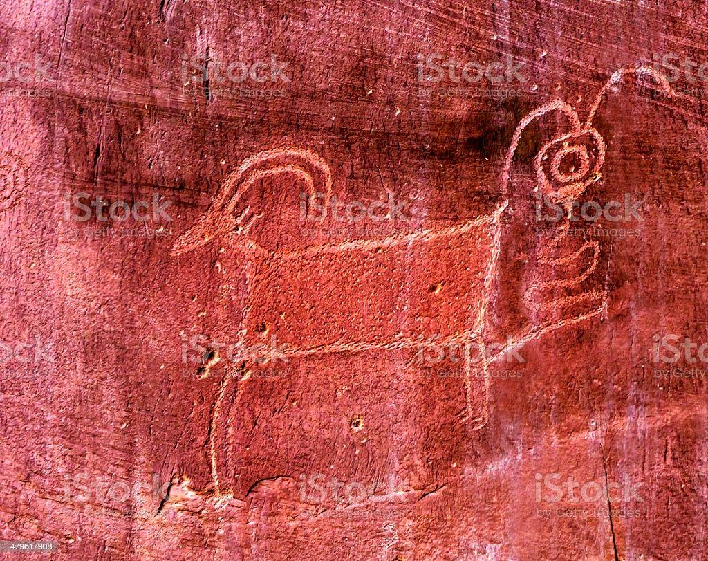Native American Indian Goat Petroglyph Captol Reef National Park Utah stock photo