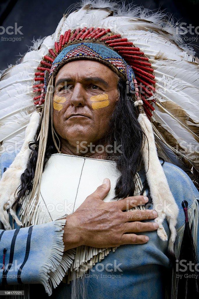 Native American Man Wearing Headdress stock photo