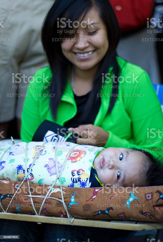 Native American Mother and Child, Santa Fe Indian Market, NM stock photo