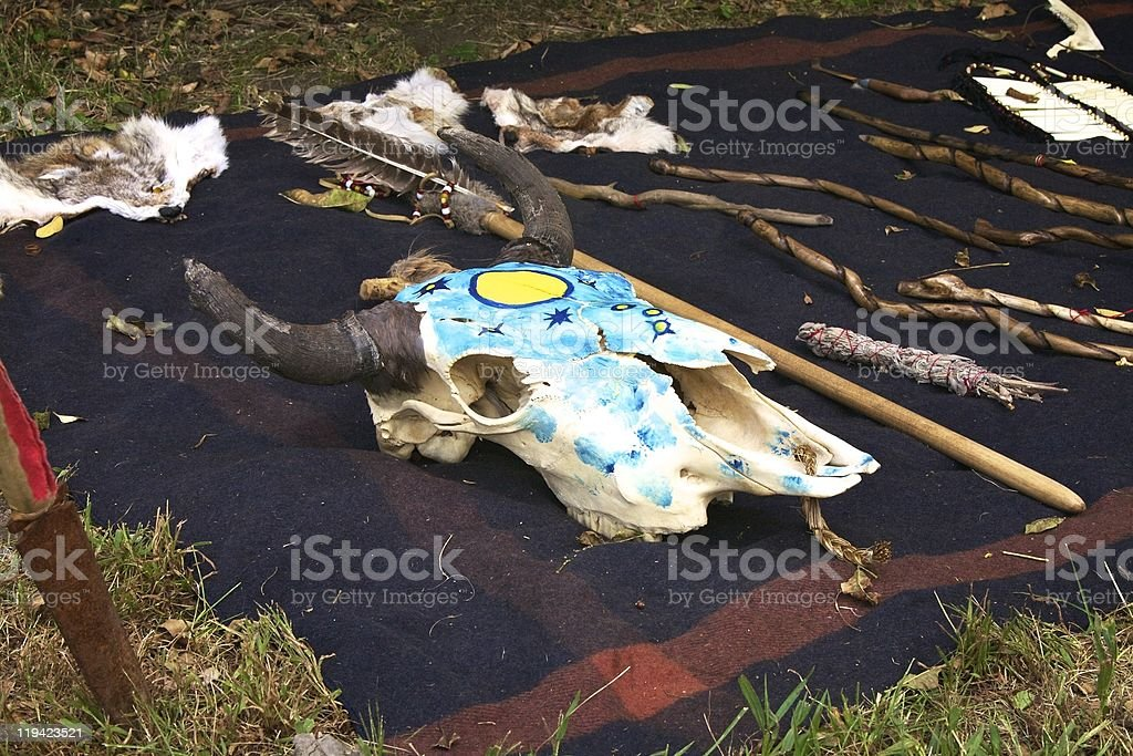 Native American Painted Cow Skull stock photo