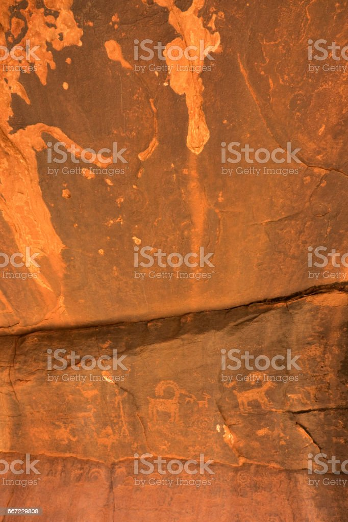 Native American petroglyph cliff Zion National Park Utah bighorn herd stock photo