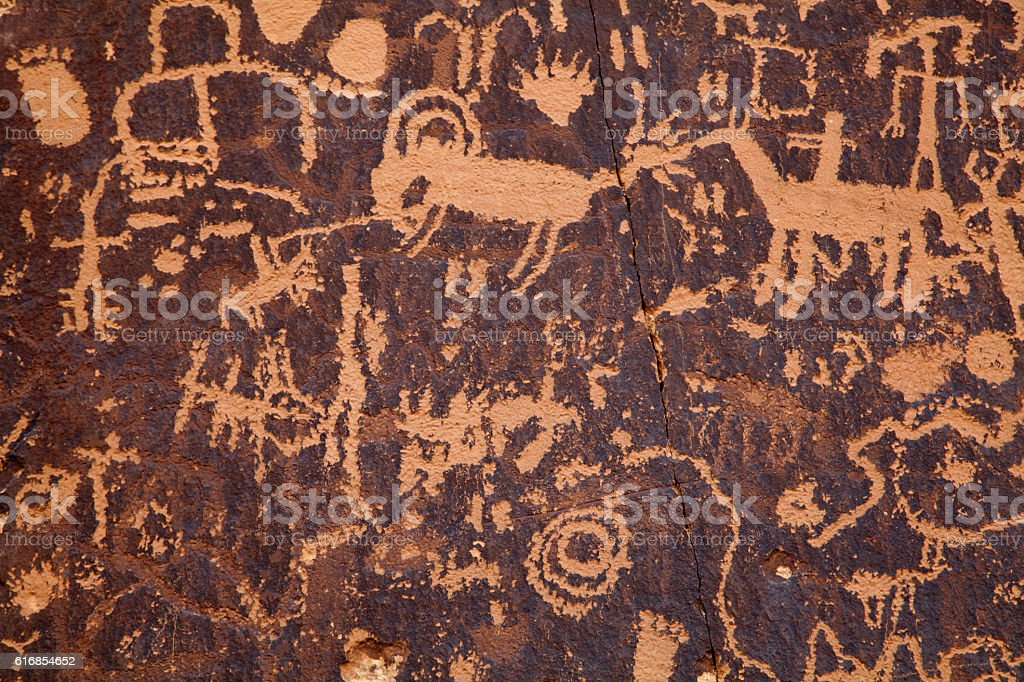 Native American petroglyphs stock photo