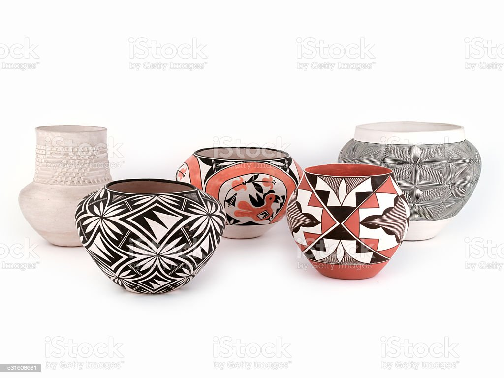 Native American Pottery, Five assorted pieces. stock photo