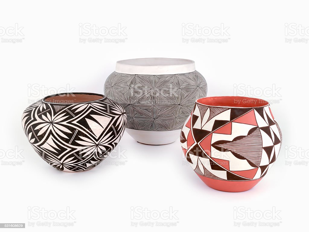 Native American Pottery, three pieces stock photo