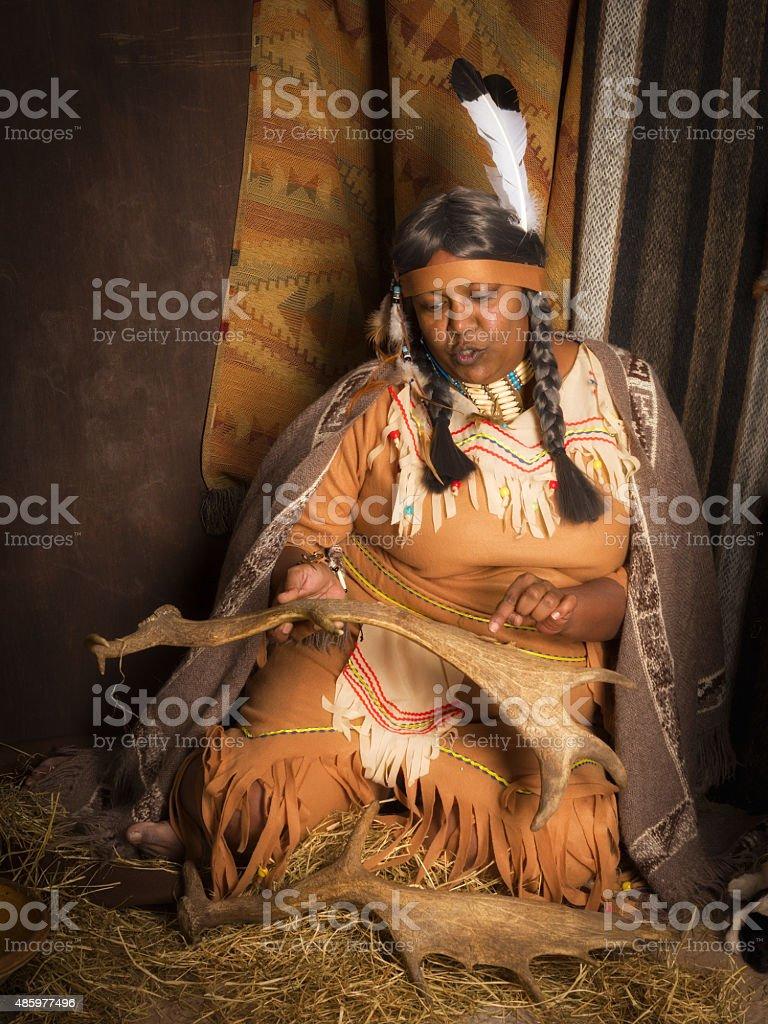 Native American storyteller stock photo