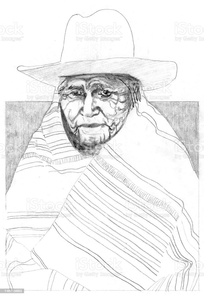 Native American Wearing Hat and Wrapped in Blanket stock photo