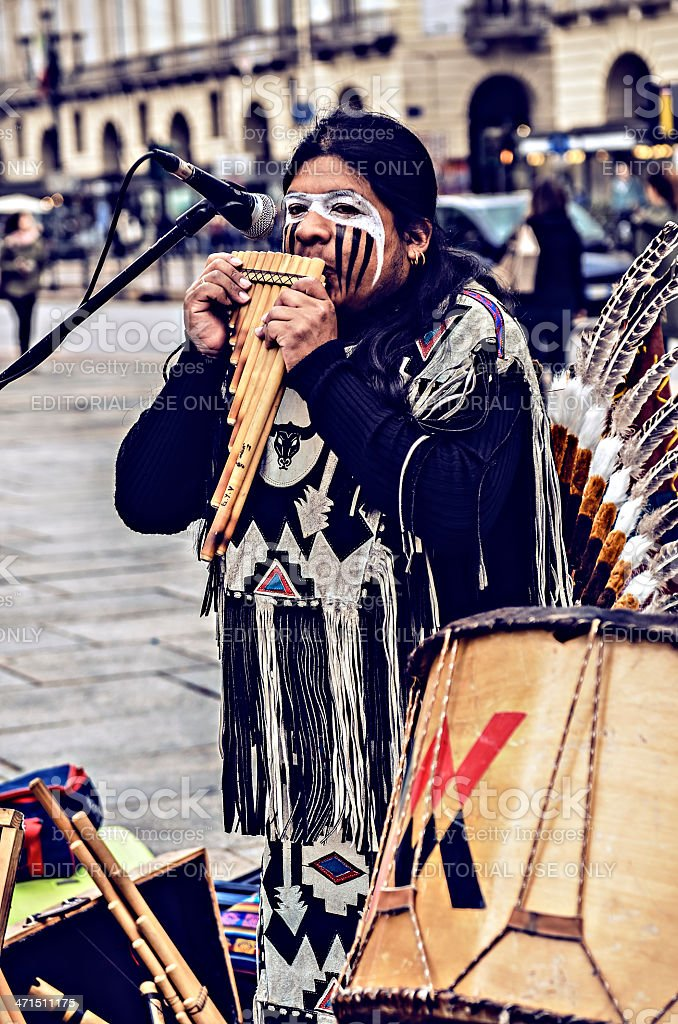 Native Americans street musician royalty-free stock photo