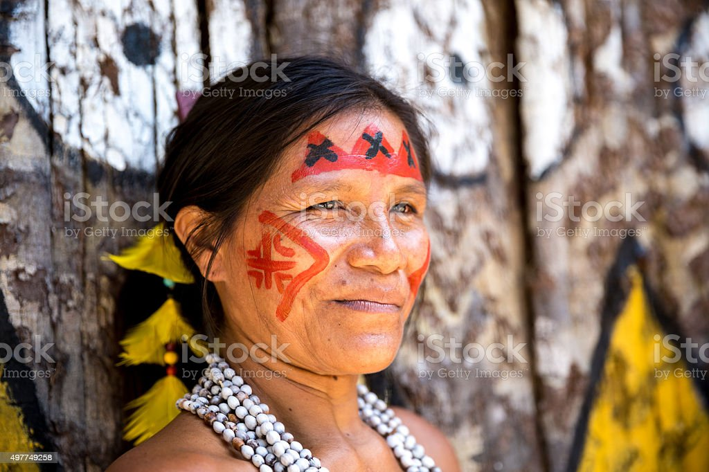 Native Brazilian old woman portrait stock photo