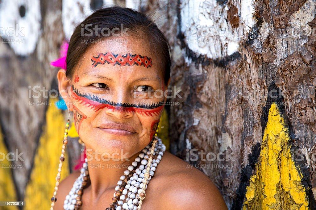 Native Brazilian old woman portrait stock photo