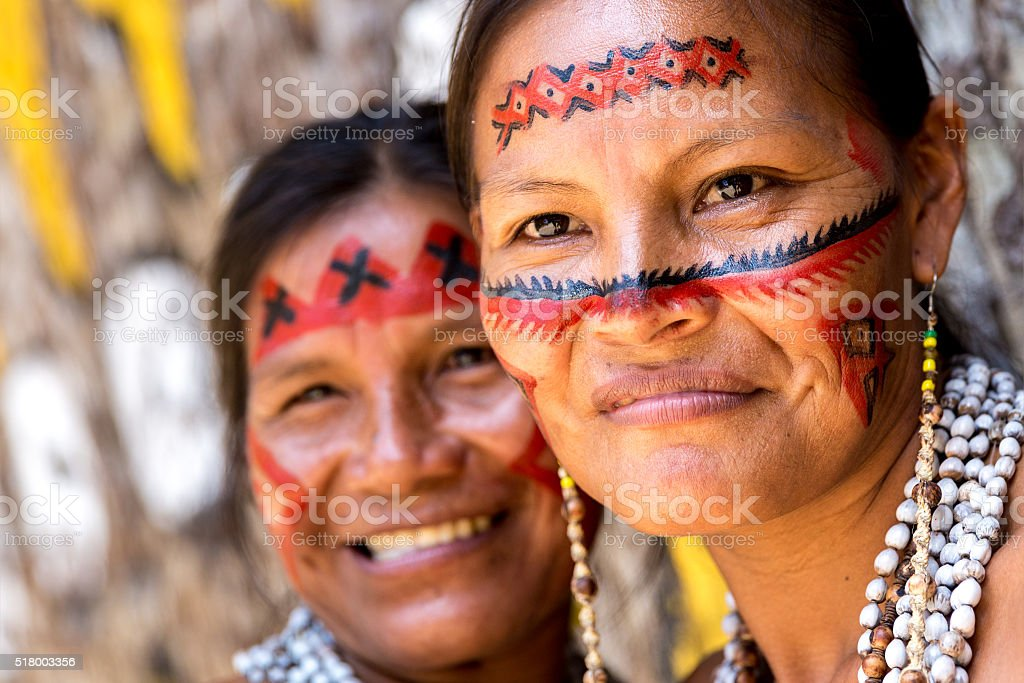 Native Brazilian old women portrait stock photo