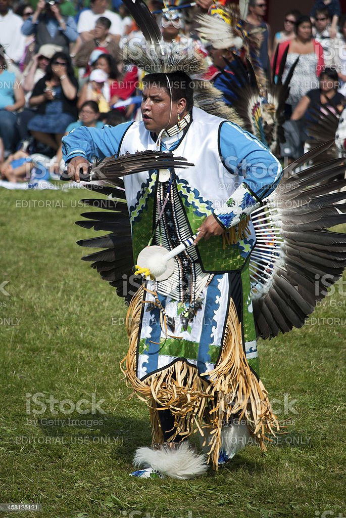 Native Canadian Mi'kmaq Man Displaying Traditional Dance stock photo