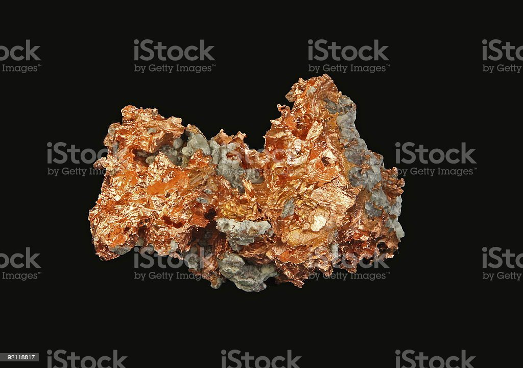 Native Copper -on black background stock photo