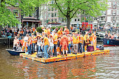 Native dutch people celebrating kings day in Amsterdam the Netherlands