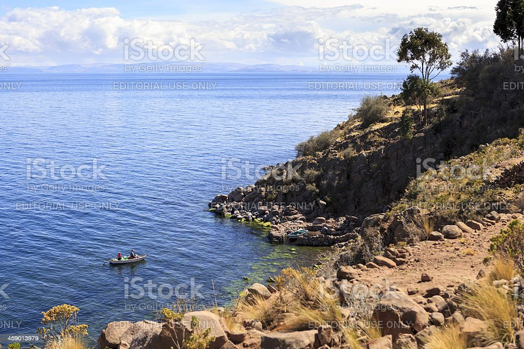 Native Fishermen off Taquile Island royalty-free stock photo