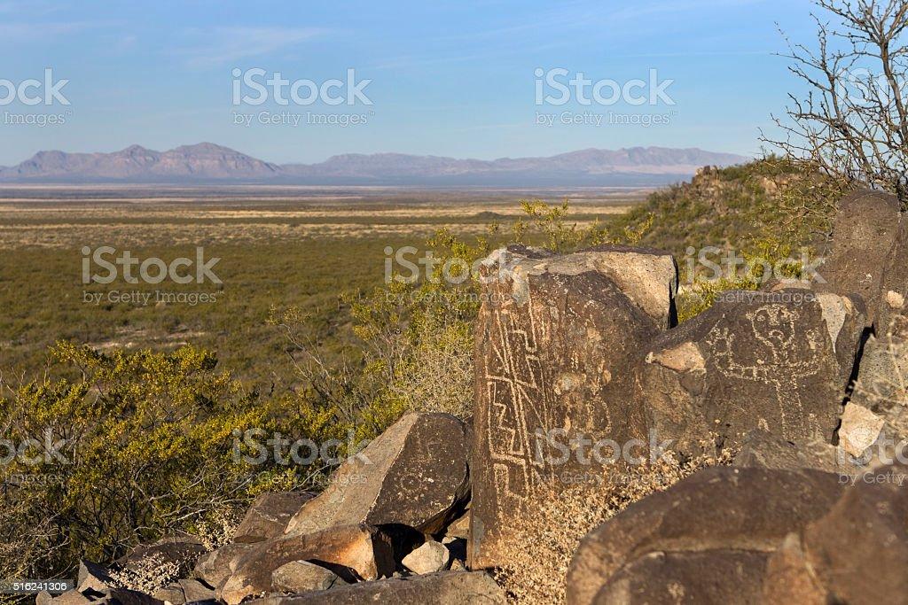 Native geometric and face petroglyphs Alamogordo New Mexico stock photo