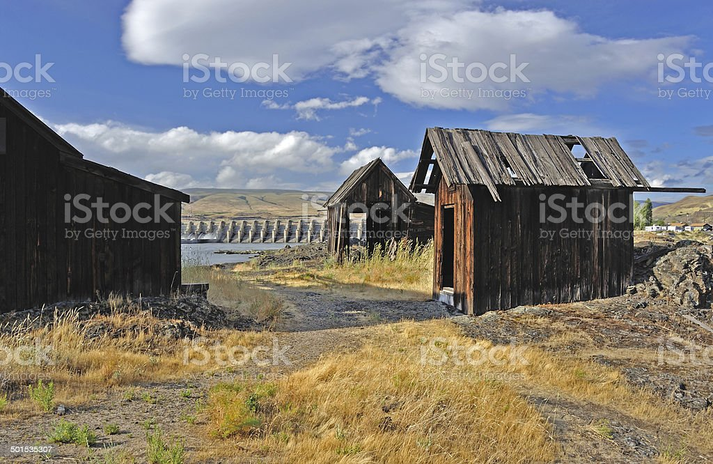 Native Indian Abandoned buildings stock photo
