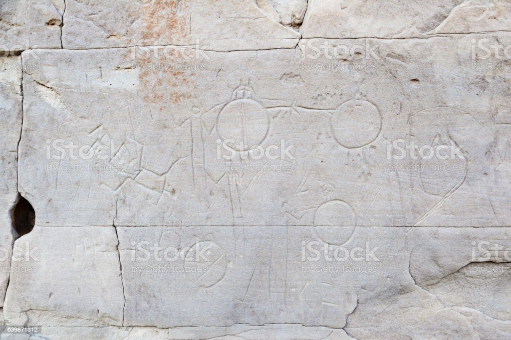 Native Indian Rock Carvings at Writing-On-Stone Provincial Park stock photo