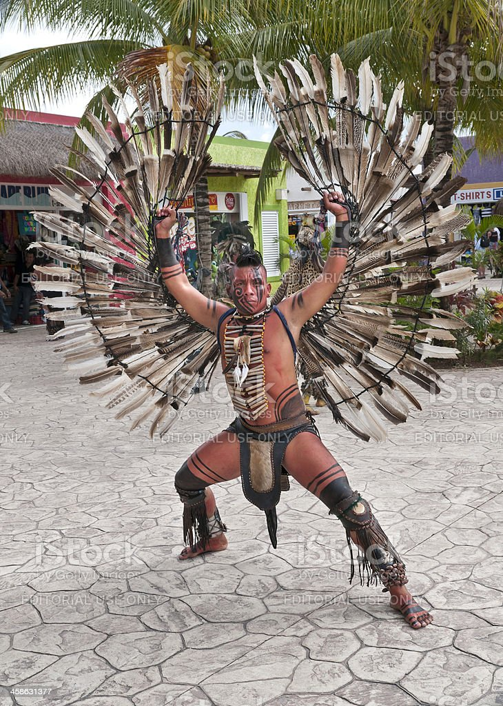 Native Mexican Dancer with Wings Spread Upwards royalty-free stock photo