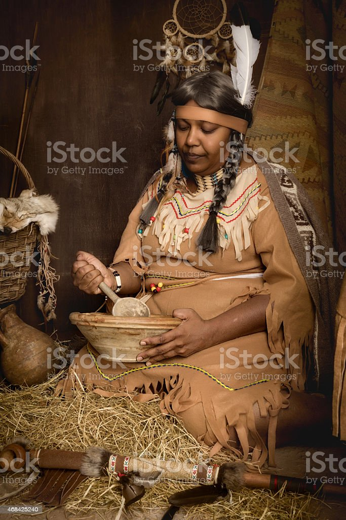 Native old squaw stock photo