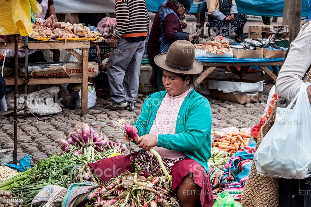 Native Peruvian in Marketplace royalty-free stock photo