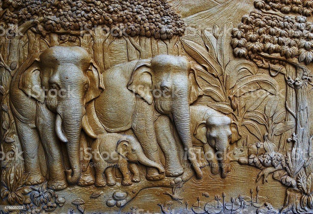 Native Thai style molding art royalty-free stock photo